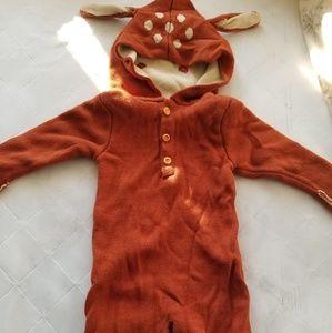 Knitted fall deer hodie romper